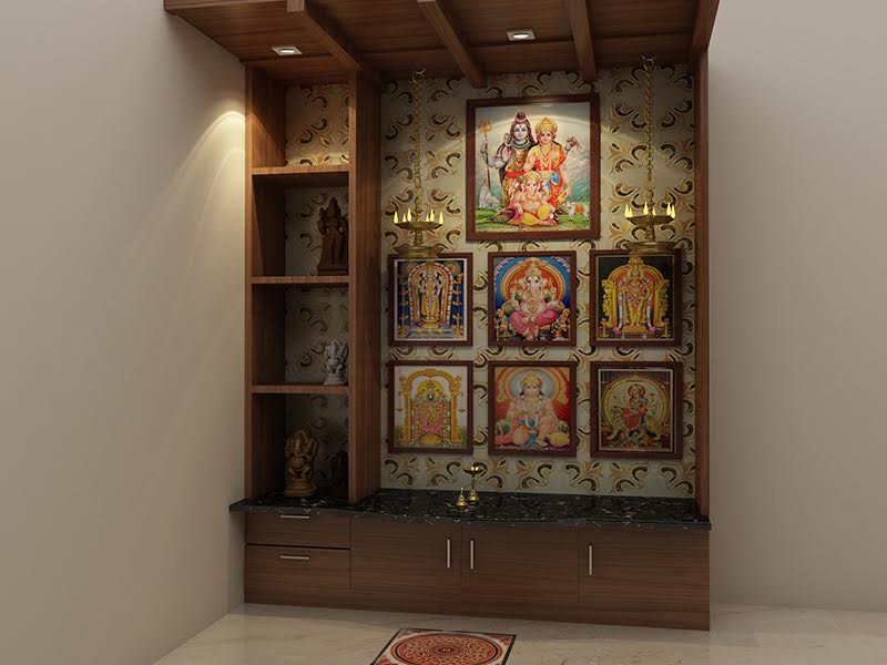 Generally People Prefer White Marble Pooja Units Or Wooden You Can Also Design Your Room In Form Of A Temple