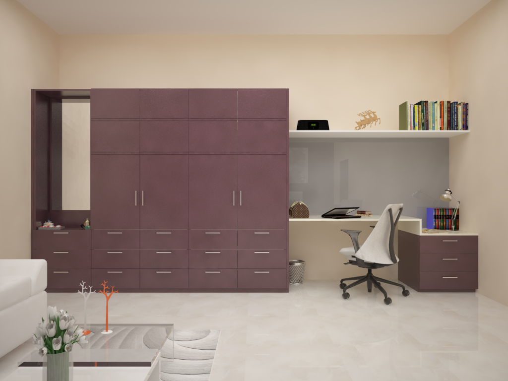 Homelane Na Wardrobe With Study Table