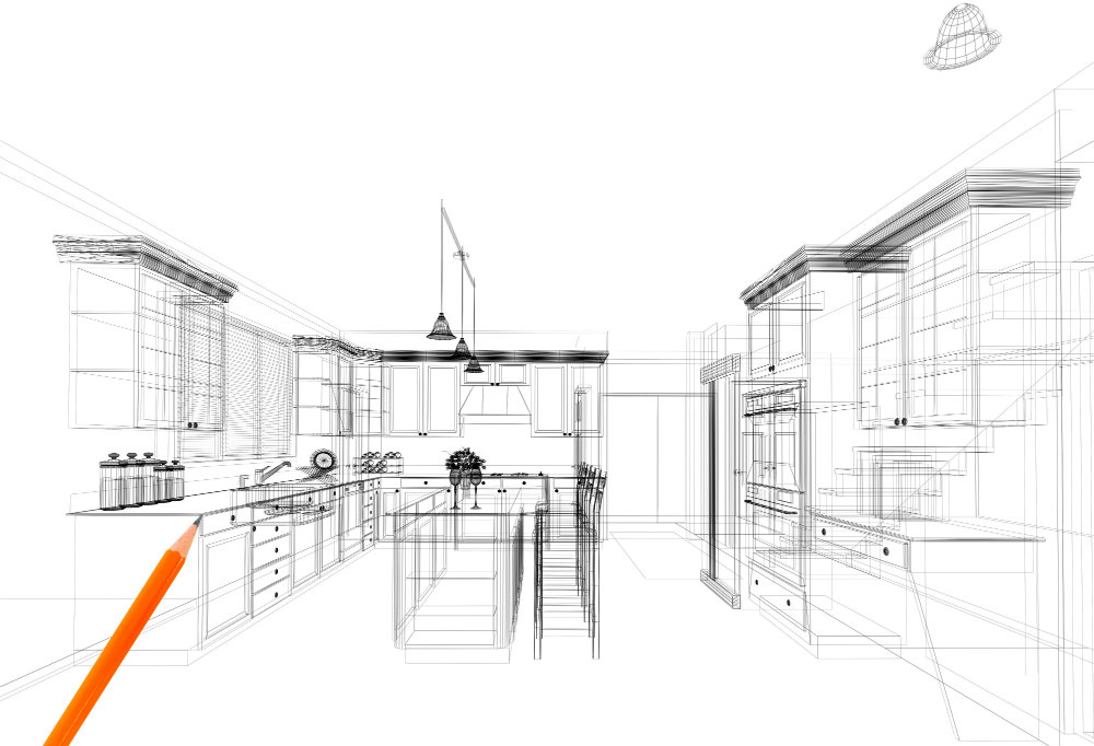 ergonomic kitchen sketch
