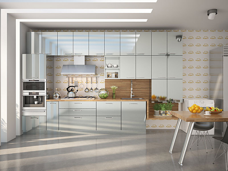 Metals And Furniture In Industrial Decor, Including Stainless Steel Kitchen  Furniture Reflect Their Raw Grain, Set Against A ...